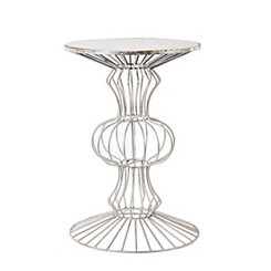Chrome Abstract Iron Wire Glass Top Accent Table