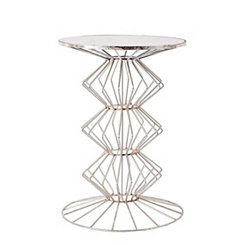 Chrome Geometric Iron Wire Glass Top Accent Table