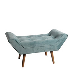 Plush Green Mid-Century Modern Bench