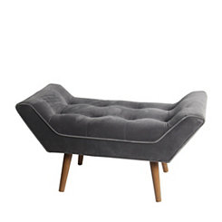 Plush Gray Mid-Century Modern Bench
