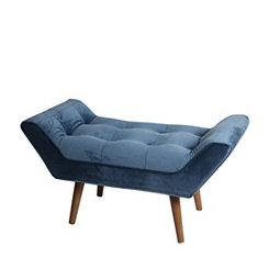 Plush Blue Mid-Century Modern Bench