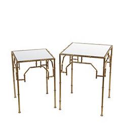 Gold Leaf Accent Tables, Set of 2