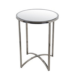 Mirrored Steel Accent Table