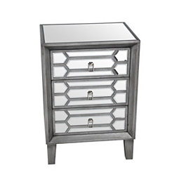 Mia 3-Drawer Mirrored Nightstand