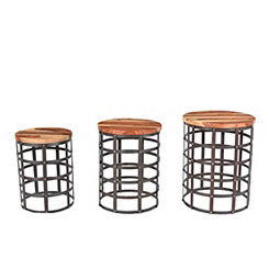 Iron and Wood Drum Accent Tables, Set of 3