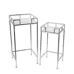 Silver Leaf Plant Stands, Set of 2