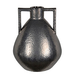 Gunmetal Silver Hammered Ceramic Vase, 17 in.