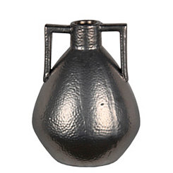 Gunmetal Silver Hammered Ceramic Vase, 13 in.