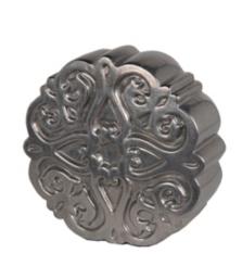 Pewter Medallion Ceramic Statue, 13 in.