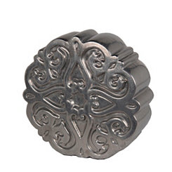 Pewter Medallion Ceramic Statue, 13 in.