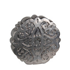 Pewter Medallion Ceramic Statue, 18.5 in.