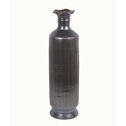 Dark Gray Fluted Ceramic Vase