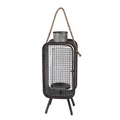 Mid-Century Modern Metal Lantern, 23 in.