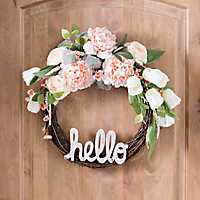 Peony and Tulip Hello Wreath