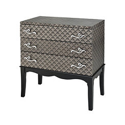 Metallic Silver Textured 3-Drawer Chest