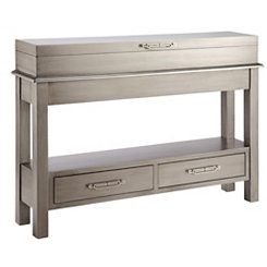 Metallic Silver Lift-Top Console Table