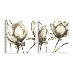 Neutral Magnolias Canvas Art Prints, Set of 2