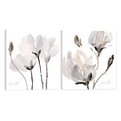 Tonal Magnolias Canvas Art Prints, Set of 2