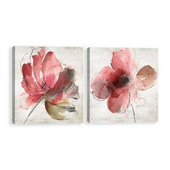 Mary Florals Canvas Art Prints, Set of 2