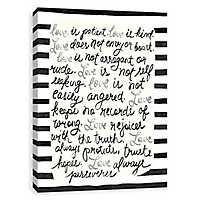 Love is Patient Striped Canvas Art Print