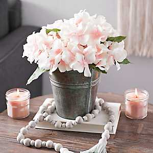 Blush Hydrangea Arrangement in Copper Pot