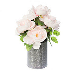 Pink Roses in Ribbed Zinc Planter