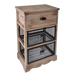 Natural Wood and Wire 3-Drawer Side Cabinet