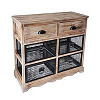 Natural Wood and Wire 6-Drawer Cabinet