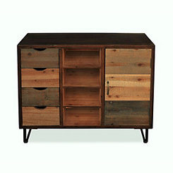 Rustic Wood 4-Drawer Organizer Cabinet