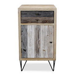 Multi-Tonal Wood Plank 1-Door Side Cabinet