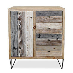 Multi-Tonal Wood Plank 4-Drawer Cabinet