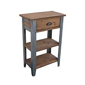 Galvanized Metal and Wood Accent Table