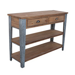 Galvanized Metal and Wood Console Table