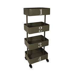 4-Tier Gray Metal Cart with Wheels