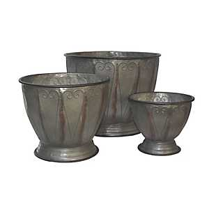 Swirled Metal Planters, Set of 3