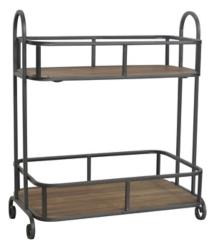 Metal and Wood 2-Tier Shelf