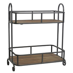 Metal and Wood 2-Tier Shelf