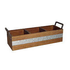 Metal Stripe 3-Slot Wooden Caddy