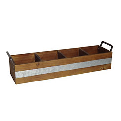 Metal Stripe 4-Slot Wooden Caddy