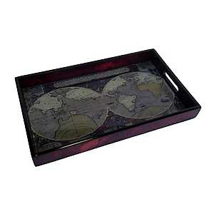 World Map Glass Top Tray
