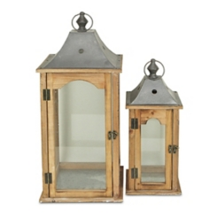 Wood and Metal with Glass Panel Lanterns, Set of 2