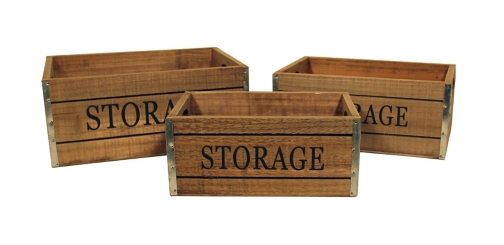 Wooden Storage Label Crates, Set of 3