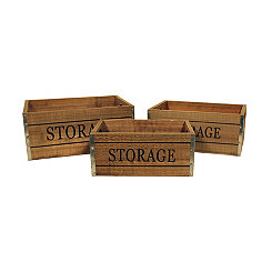 Wooden Storage Label Crates, Set of 3