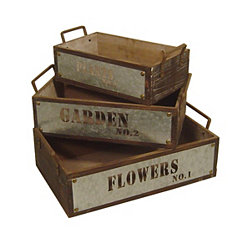 Garden Wood and Metal Crates, Set of 3