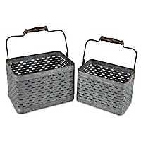 Galvanized Metal Storage Caddies, Set of 2