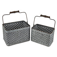 Galvanized Metal Storage Caddies, Set of 2