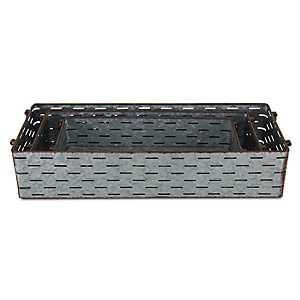 Galvanized Metal Rectangular Trays, Set of 3