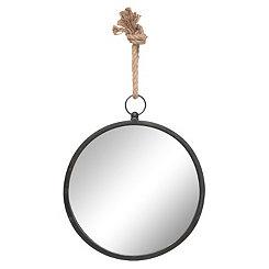 Round Metal Frame Mirror with Rope Hanging Loop