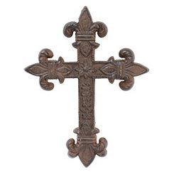 Rustic Fleur-de-Lis Cast Iron Cross