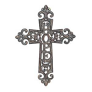 Hope Weathered Pewter Cast Iron Cross